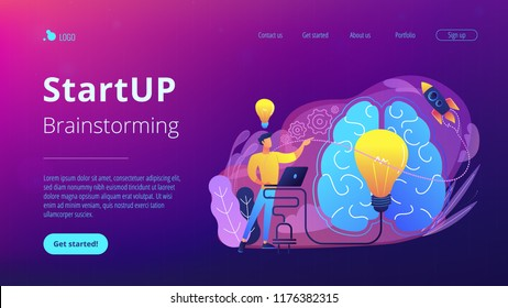 A man in workplace with laptop, big light bulb, rocket and human brain. Idea, start up launching, business success, brainstorm concept, violet palette. Website landing web page template.