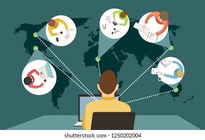 man works distance or learns around the world with students or employees from different countries online courses or work remotely vector illustration