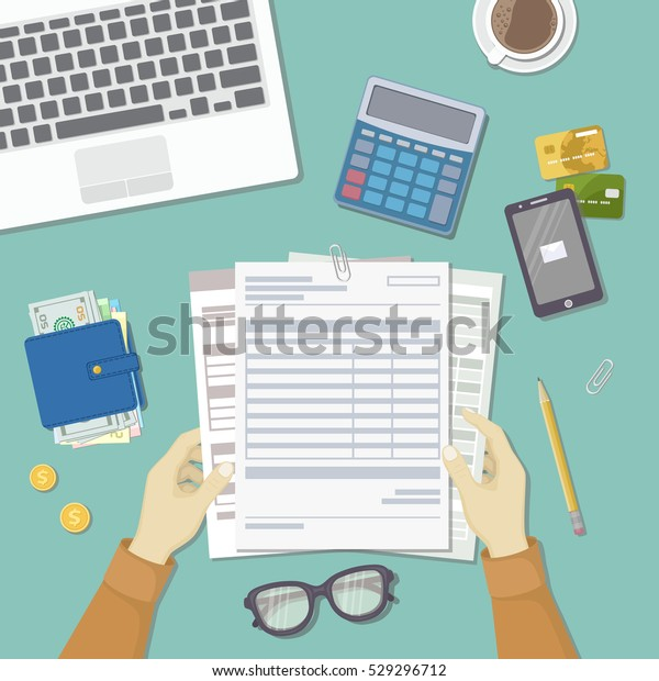 Man Works Financial Documents Concept Paying Stock Vector