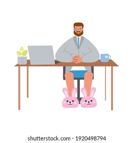 Man works in front of a computer at home. Vector person isolated on white background