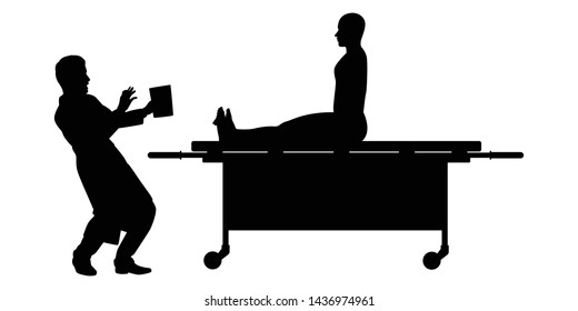 The man works in morgue silhouette vector