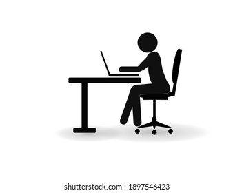 The man works on the computer at the table. Business icon.
