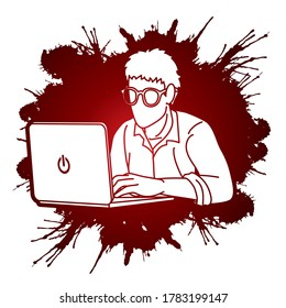 Man works on his laptop cartoon graphic vector.