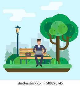 Man works in park with computer on bench under tree. Flat style vector illustration.