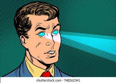 Man x-ray eyes, scanning. Pop art retro vector illustration