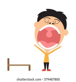 man yawning and lazy. vector illustration.