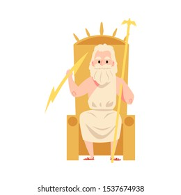 Man or Zeus Greek God sits on throne holding staff and lightning cartoon style, vector illustration isolated on white background. Jupiter mythological father or ruler of sky and thunder