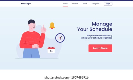 manage your schedule men around bell clock calendar campaign web website home homepage landingpage banner template flyer with outline style