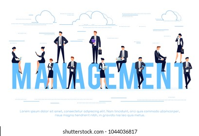 Management. Businessmen in a flat style. Template design poster, banner, website header. Business concept. Vector illustration.