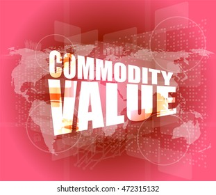 Management concept: commodity value words on digital screen vector illustration