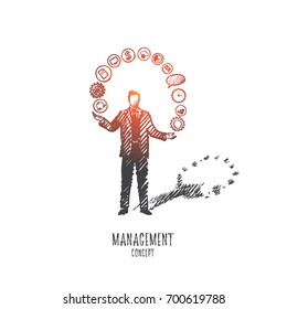 Management concept. Hand drawn team leader with a lot of tasks he should do. Male manager and his duties isolated vector illustration.