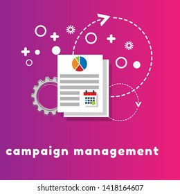 "management concept with word ""campaign management"" graph an calendar icon"