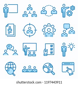 Management consulting flat line icons. Set of consult, team, meeting, businessman, workshop and more. Editable Stroke. Change to any size and any colour.