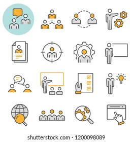 Management consulting flat line icons. Set of consult, team, meeting, businessman, workshop and more. Editable Stroke.