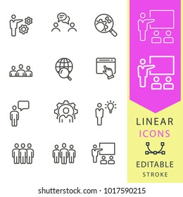 Management consulting vector icons set. Black illustration isolated for graphic and web design. Editable stroke. Business, workshop, conference, meeting, ets.