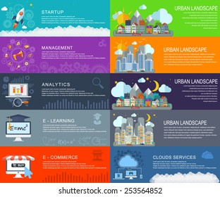 Management digital marketing srart up planning and analytics ,media, travel, social, traffic, e-commerce, City landscape at daylight, evening and night. Vector web design and infographic