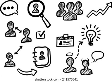 Management and human resources doodle icons