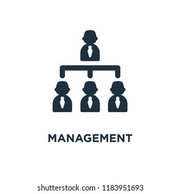 Management icon. Black filled vector illustration. Management symbol on white background. Can be used in web and mobile.