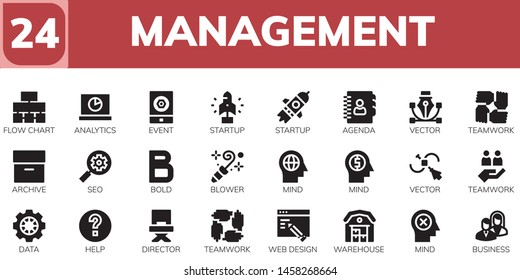 management icon set. 24 filled management icons.  Simple modern icons about  - Flow chart, Analytics, Event, Startup, Agenda, Vector, Teamwork, Archive, Seo, Bold, Blower, Mind