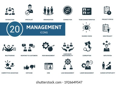 Management icon set. Contains editable icons management theme such as specialist, connection, project status and more.