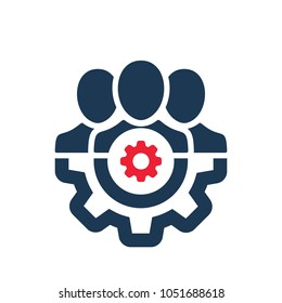 Management icon with settings sign. Management icon and customize, setup, manage, process symbol. Vector icon