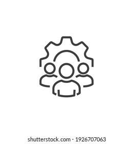Management Icon. Teamwork management icon. Business team. Company leader, supervisor. Partnership icon. Organization workforce. Facility. Crowd management. Businessman career development. CRM.