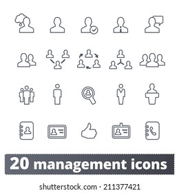 Management icons: communication, human resources, business persons and users. Vector set.
