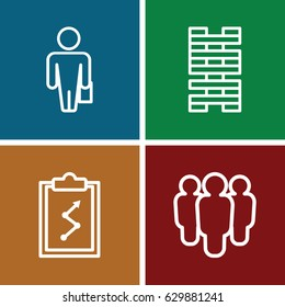 Management icons set. set of 4 management outline icons such as man with case, group, clipboard with chart