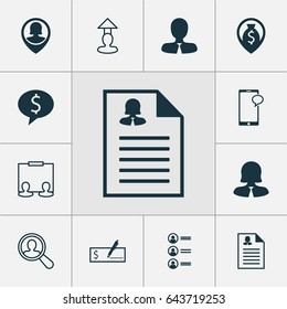Management Icons Set. Collection Of Business Woman, Destination, Find Employee And Other Elements. Also Includes Symbols Such As Profile, Dollar, Male.
