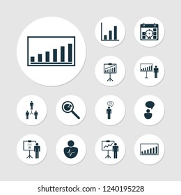 Management icons set with statistic research, project statistics, personality traits and other project targets elements. Isolated vector illustration management icons.