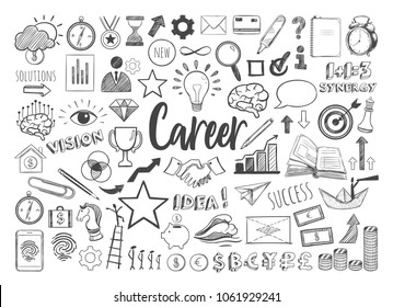 Management infographic concept with financial business career development elements in doodle style . Vector hand drawn illustration. Isolated objects