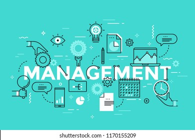 Management lettering with laptop, charts and graphs, hands holding clock, calendar and business plan thin line icons. Modern infographic banner with elements in linear style. Vector illustration.