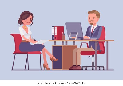 Management meeting for giving information or instructions. Male boss, attractive female secretary at daily business briefing, office helper assists, gets tasks. Vector flat style cartoon illustration