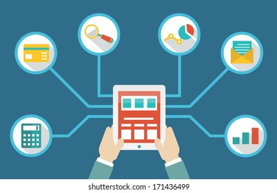 Management of money by means of tablet pc - vector illustration