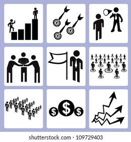 management, organization icon set