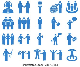 Management and people occupation icon set. These flat symbols use cobalt color. Vector images are isolated on a white background. Angles are rounded.