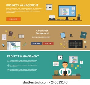 Management planning analytics banners for websites flat design style