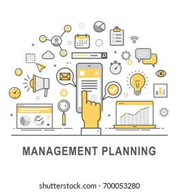 Management planning. Time management and control concept for successful business. Illustration of  forecasting, developing and marketing of product. Concept of product management. Vector set of icons.