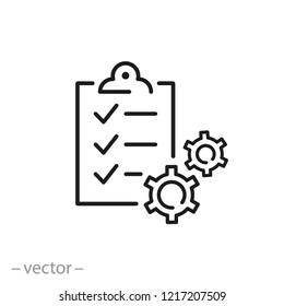 management project icon, business document linear sign on white background - editable vector illustration eps10