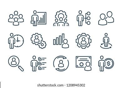 Management related line icon set. Vector illustration.