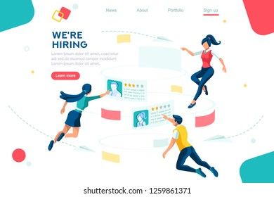 Management selection infographic. Employment, social presentation for recruiting, web recruitment resources, documents for find and choice. Research, questionnaire concept. Characters isometric vector