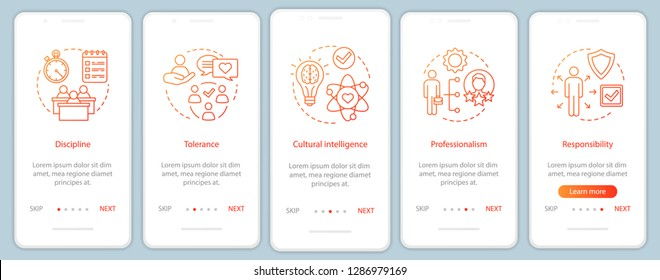 Management skills onboarding mobile app page screen vector template. HR baseline qualities, abilities walkthrough website steps. Responsibility, discipline, tolerance. UX, UI, GUI smartphone interface
