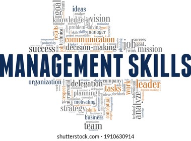 Management skills vector illustration word cloud isolated on a white background.