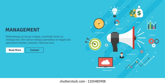 Management and strategy announcement and business growth.Notice or announcement, promotion a product and growth, service or event and business icons. Flat design vector illustration concept.