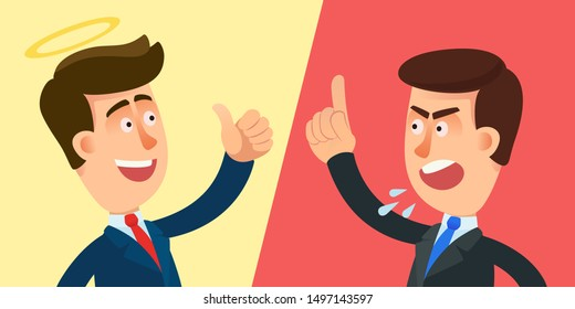 Management style - carrot and stick. Versus background  with good and evil manager, angel boss and demon boss. Vector illustration, flat design, cartoon style.