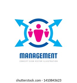 Management vector logo design. Hr concept sign. Business symbol.
