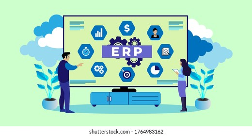 IT manager analyzing the architecture of ERP (Enterprise Resource Planning), ERP, enterprise resource planning. Productivity and improvement Concept, can use for, landing page, template, ui, web.