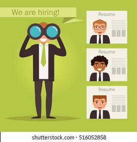 Manager with binoculars looking for employees. Vector. Cartoon character. Isolated. Flat.