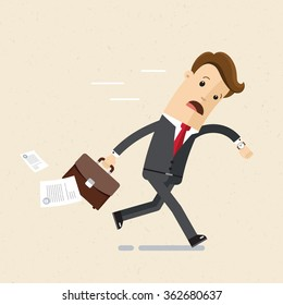 Manager or bisnessman are late. A man in a suit with a briefcase in his hands  are late, hurry, running. Illustration, vector eps 10.