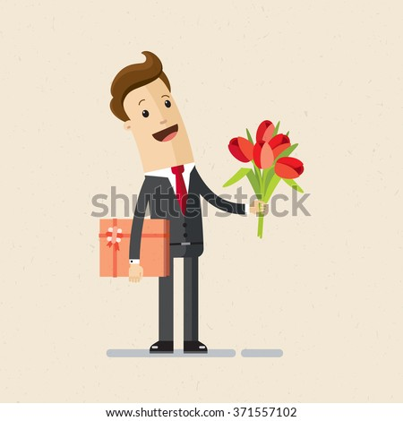 Manager Or Businessman With Flowers And Gift Happy Birthday Valentines Day Flat Isolated